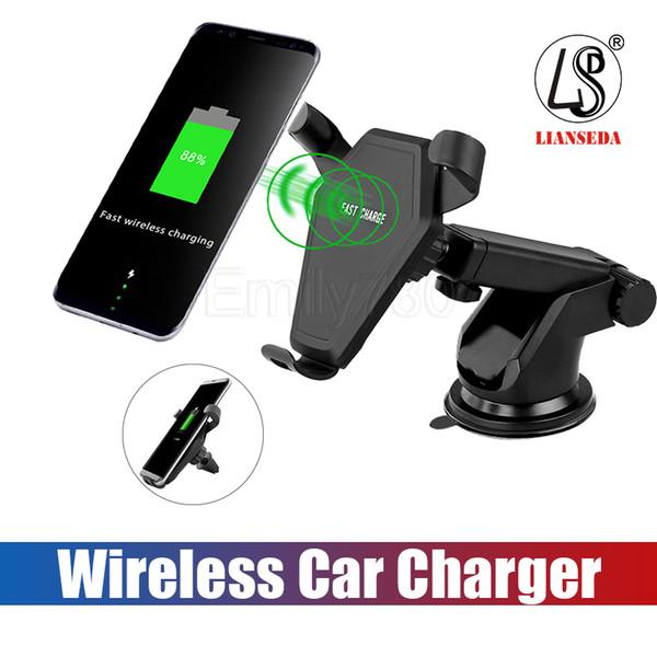 Yerçekimi Araç Telefonu Tutucu Kablosuz Şarj Standı Tutucu Braketi Araç Montaj Hava Firar Çıkışı Enayi ile iPhone 7 S8 Perakende Paketi ile
