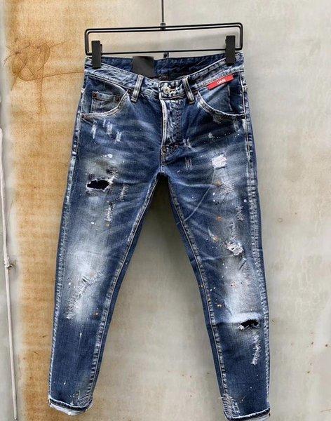 Toptan Erkek Tasarımcı Pantolon Yeni Stil Casual Skinny Sweatpants Mektupları Baskı Erkek Jeans Bırak Kasık Koşu Pantolon Erkek Kot