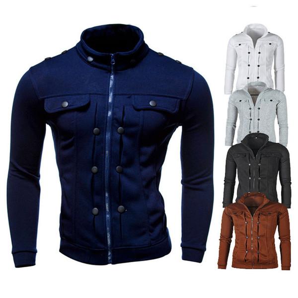 2019 New Men's Jacket Fashion Slim Comfortable Plus Velvet Sweater Zipper Collar 42#