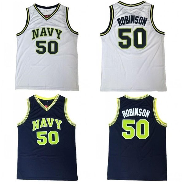 NCAA College Naval Academy Navy Midshipmen 50 David Robinson Jersey Men Navy Blue White Basketball Uniform University Breathable Quality