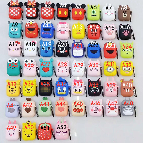 For AirPods 1/2 Case Cute Cartoon Pooh Bear Earphone Cases For Apple Airpods 2 Soft Protect Cover with Clip Ring Strap