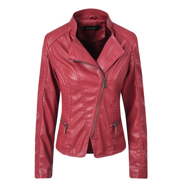 2019 autumn winter short leather jacket fashion women zipper Turn-down Collar PU coat slim motorcycle leather Outerwear p1367