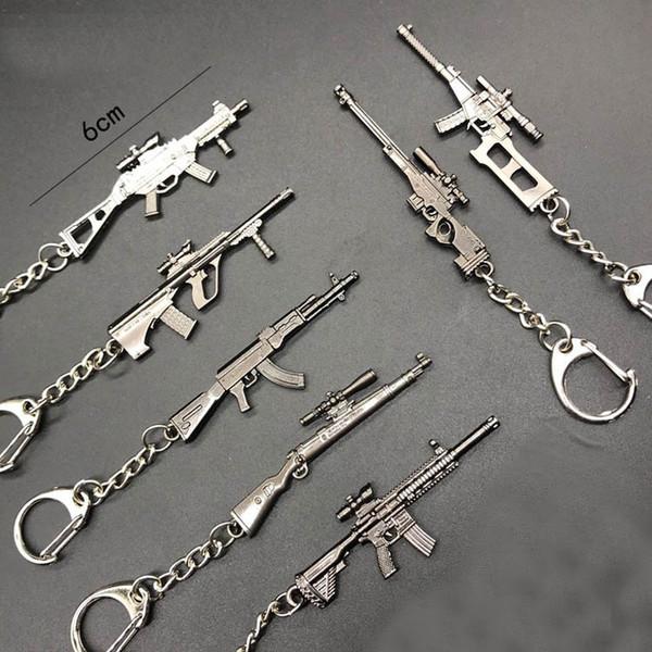 New game Novelty Items SCAR Gun Shape Keychain pendant Trinket AWM Sniper Key Chain 20 styles Jewelry Souvenirs Gift Men