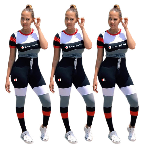 Women Champions Tracksuits Stripe Letter Printed Short Sleeve T-shirt Top + Pants 2 Piece Sets For Summer Lady Casual Outfits S-2XL C3251