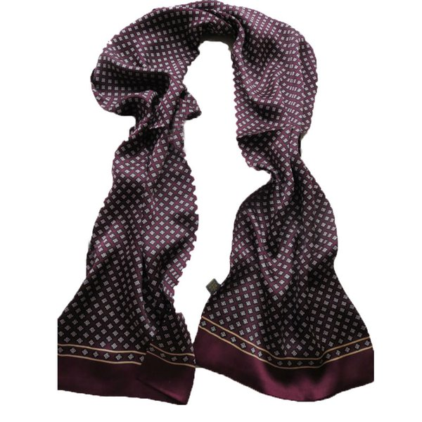 Los hombres de la bufanda 100% pura seda pañuelo para el cuello de la capa doble Impresión de patrón de tela escocesa larga de la flor del ciruelo bufandas azul / púrpura