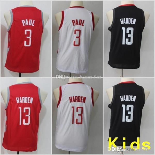 3259dbda1 Youth Kids Houston 13 Harden Rockets Jersey 3 Chris James Paul White Red  Black Basketball Stitched
