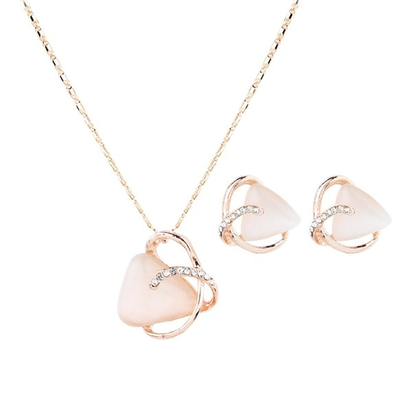 New Fashion Triangle Crystal Rhinestone Necklace Winding Cat`s Eye For Women Girl`s Earrings Sets Jewelry
