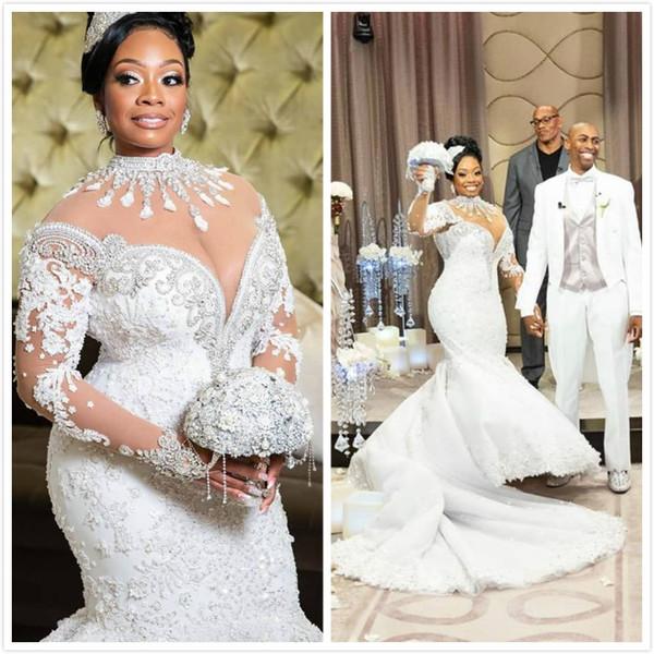 Kristalle Spitze Arabisch Luxuriöse 2019 Plus Size Brautkleider Stehkragen Lange Ärmel Perlen Meerjungfrau Brautkleider Sexy Brautkleider