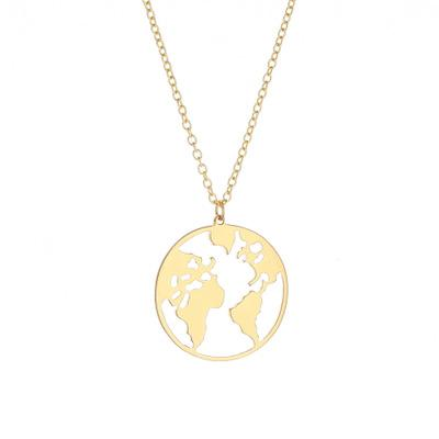 2018 New World Map Pendant Necklace For Women and Men Personalized Gold Silver Color Mental Colar Small Gift