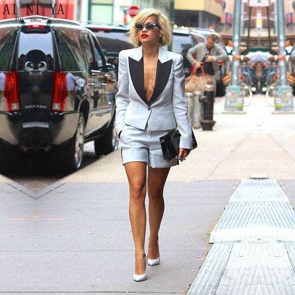 NEUE Sommer 2 Stück Set Frauen elegante kurze Hose passt Damen Business-Anzüge weibliche Hose Damen Büro Uniform Anzug