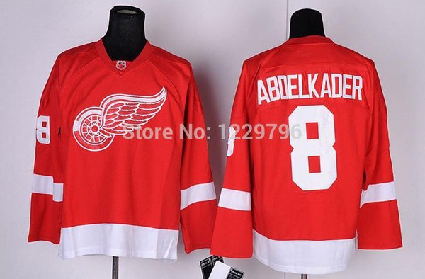2016 Free Shipping Detroit Red Wings Ice Hockey Jerseys Justin Abdelkader Jersey Home Red White #8 Stitched Jerseys Discount