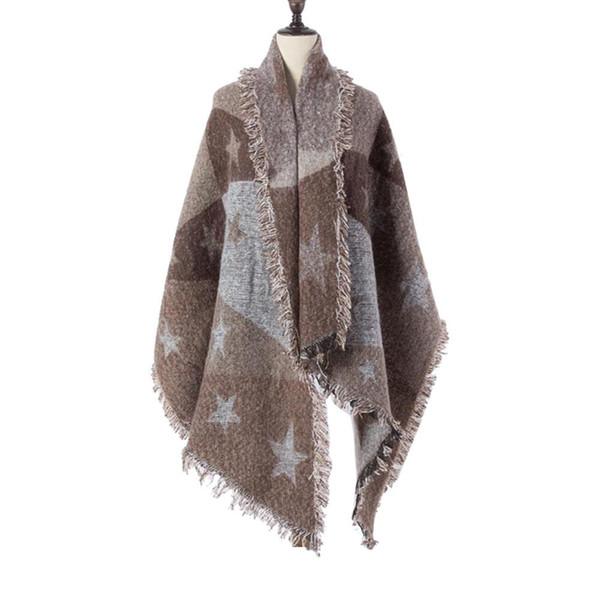 Feitong Winter Scarf Lady Women's Scarves Pentagram Blanket Poncho Warm Cozy Pentagram Wrap Oversized Shawl Cape Bandana