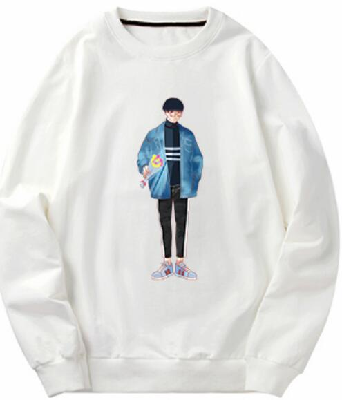 Boys' hoodies with fleece and thick Korean version of loose fashion students' tops and long sleeved t-shirts with autumn and winter backgrou