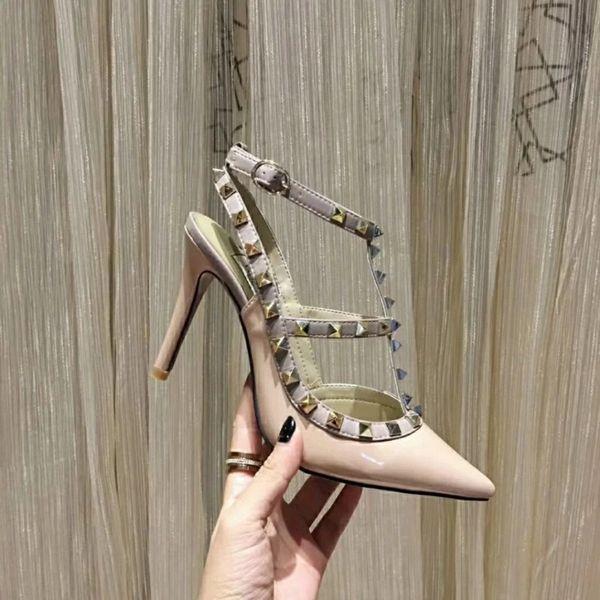 Dame High Heels Designer Sandalen Party Fashion Nieten Sexy Spitzen Schuhe Tanzschuhe Kostenloser Versand Designer Schuhe 7 KLASSISCHE Farben Verfügbar