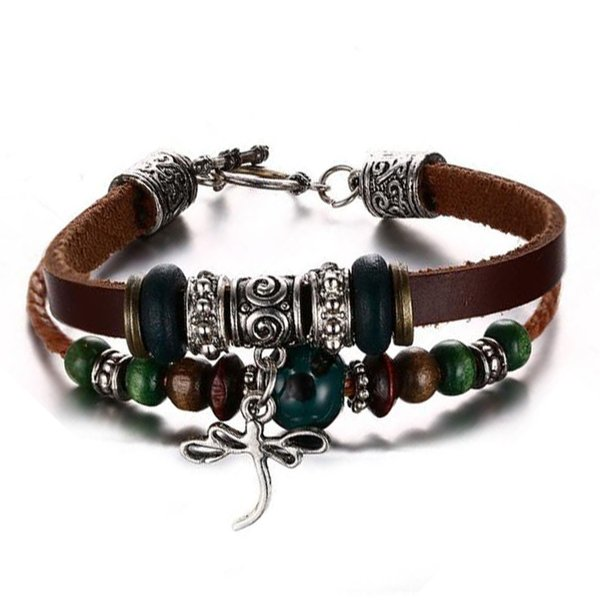 Retro Mens Cat Eye Beaded Multilayer Dragonfly Charm Animal Wristband Leather Bracelet