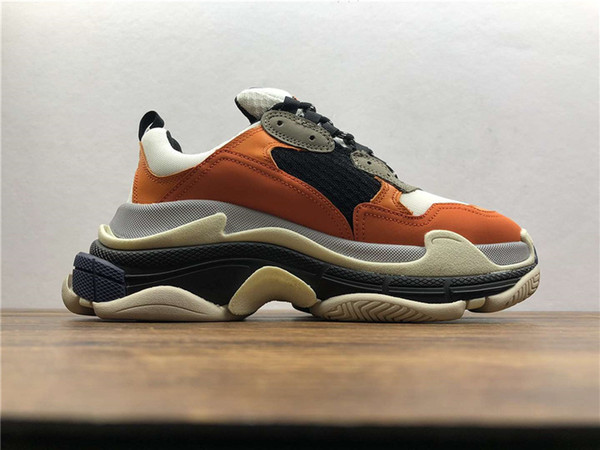 2019 New Orange Luxury Triple S Designer Low-top Make Old Sneaker Trendy Footwear Boots Mens Womens Lace Up Shoes Top Quality Casual Shoe
