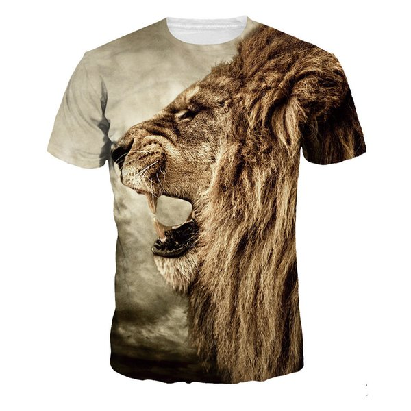 Boy Summer clothing 2019 new products3d Printing T t-shirt Digital Lion Head Large Code Men's Wear Motion short sleevebe