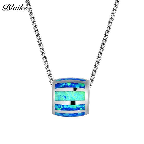 Blaike Mystical Fire Cylinder Pendants For Women Men 925 Sterling Silver Round Blue White Fire Opal Necklace Female Wedding