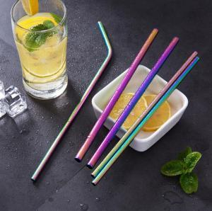 best selling Rainbow Stainless Steel Straws 6mm 8.5inch 10.5inch Colorful Bent Straight Reusable Drinking Straws Metal Baby Feeding Straw OOOA6309