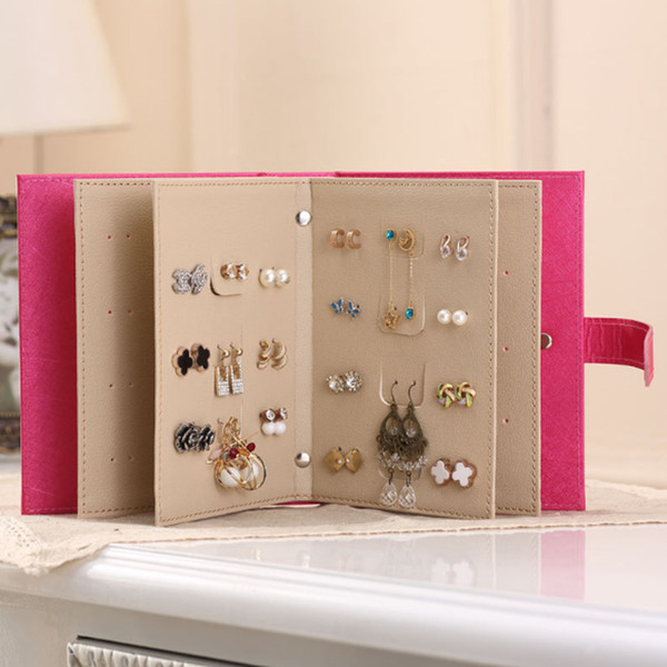 New Earrings Collection Book Portable Jewelry Display Storage Box Case Bin makeup organizer jewelry box porta joias Xmas Gift