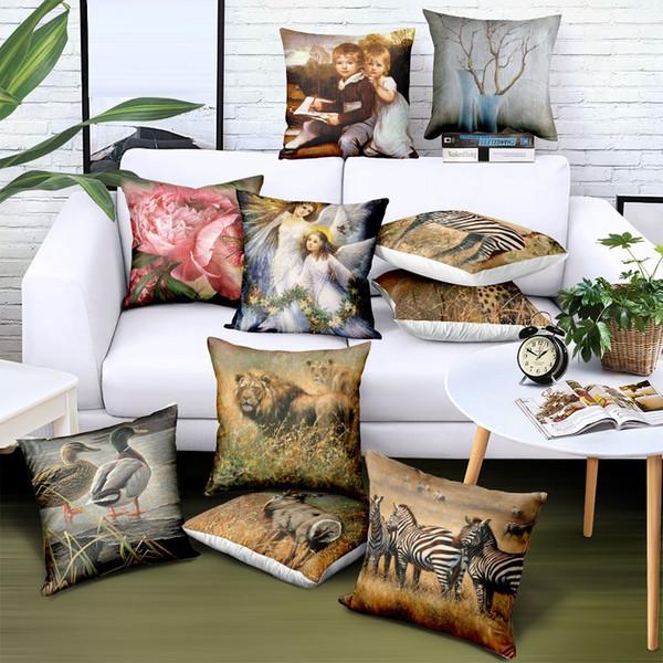 Private Custom Wholesale Animal Pillow Case Art Print Logo Brand Advertising Gift Sofa Car Chair Seat Flax Linen Cushion Cover Free Design