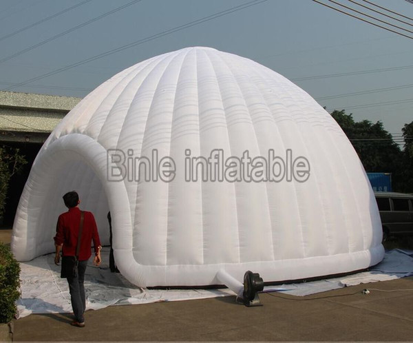 10 metre diametre giant inflatable dome tent with LED lights white inflatable igloo tent for stage roof toy tents