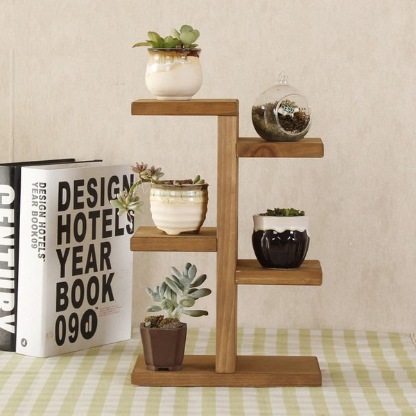 Storage Rack, Mini Plant Stand, Small Stool Display Wood Tiered Succulent Planter Stand for Indoor Outdoor Home Office Decorative
