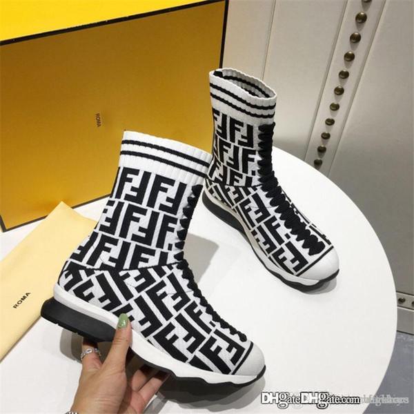 bonne 2018Fendi Rockoko High Top Sneaker Sock rayé penser pull runner chaussette sur Bottes Chaussures de sport avec la boîte