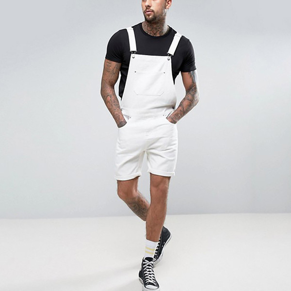 Pocket Suspender Pants 2019 Men Summer Streetwear Solid Pocket Overall Jeans Male Knee Length Overall Plus Size S-3XL L0823