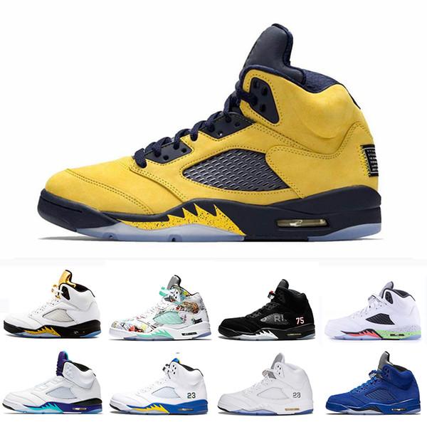 Schuhe Männer Bred Flügel Basketball Inspire Nike Grape Jordan PARIS 5 Michigan OG Schwarz Laney White Großhandel 5 Fab Air Neue Satin PSG Fresh 5s FlTKc1J