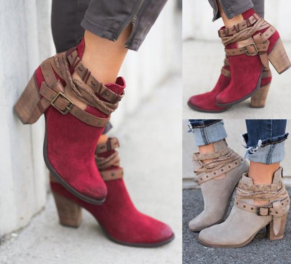 Botas de tacón alto para mujer zapatos de invierno Casual