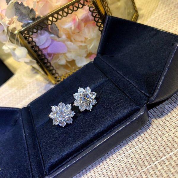 Lüks Klasik Tasarımcı S925 Gümüş Tam 3A Zirkon Güneş çiçek Saplama Küpe Kadınlar Takı Için
