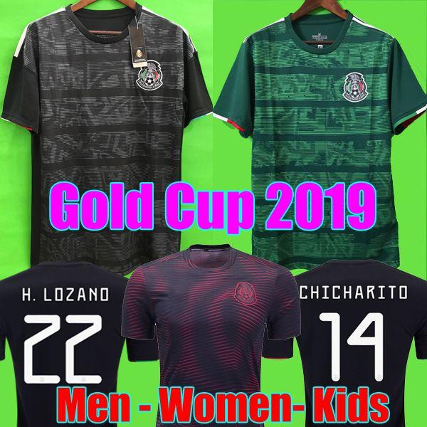 Copa do ouro 2019 Camisetas México 19 20 HOMENS MULHERES CRIANÇAS camisa de futebol 2018 CHICHARITO LOZANO DOS SANTOS menina camisa de futebol camisa de futbol
