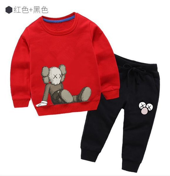 2019 Hot Fashion Cartoon Character Long Sleeved Cotton Quality Jacket Spring Autumn Round Neck Long Sleeve Shirt 2-7 Age Baby Boys Girls Set