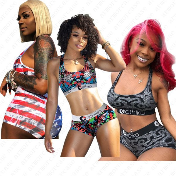 2020 Women Striped Swimsuit 2 Piece Bikini Set Cro Vest Tank Bras + Shorts US Flag Swimwear Beachwear Tankinis water clothing set D52701