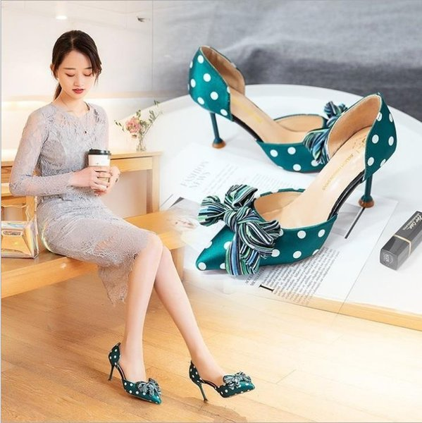 New Polka Dot High Heel Women Bowknot Sandals Pointed Toe Cotton Farbic Sandals Shoes Vintage Geometry Heel Women Sandals