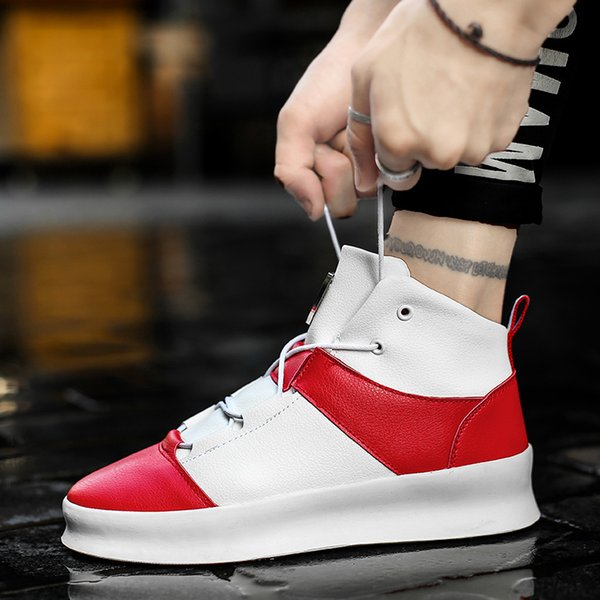 1Men Sneakers Spring New Lace-up Hip Hop Ankle Boots Autumn High Top Shoes Men Casual Shoes Men's Flat Thick Bottom Shoes
