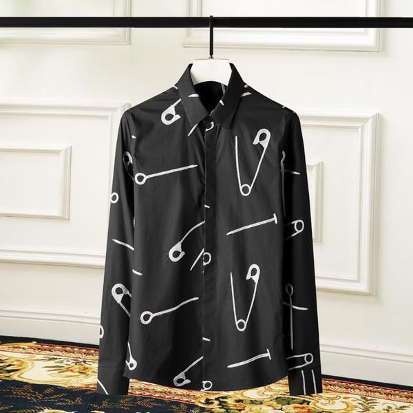 Мужские рубашки роскошные 100% хлопок Pin вышивка с длинным рукавом Мужские рубашки плюс размер 3XL 4XL Slim Fit Party Mens Dress