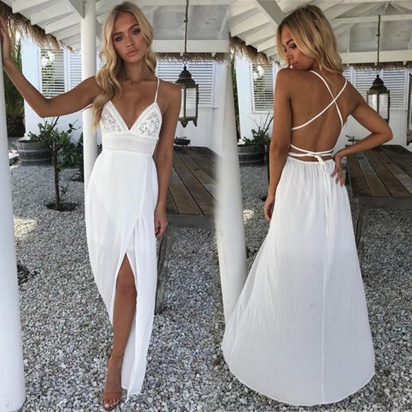 Size S-XL Women TOP SALE Sleeveless White Color Backless Bandage V-Neck Maxi Bohemia Newest Style Dresses