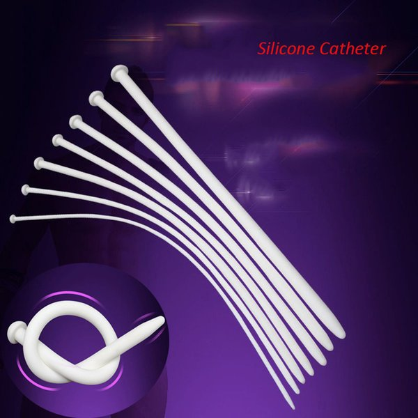 352mm White Male Silicone Catheter Penis Plug Stretching Chastity Device Urethral Dilators Urethral Sounds Adult Sex Toys 4.5mm-11.5mmc
