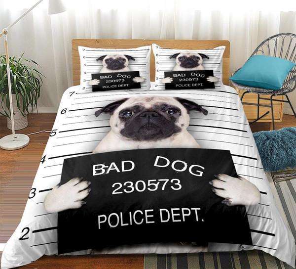 Pug Bedding set cute puppy Duvet cover set for teen Cartoon pet Bed line Cute dog Pattern Bedspread King home Textiles