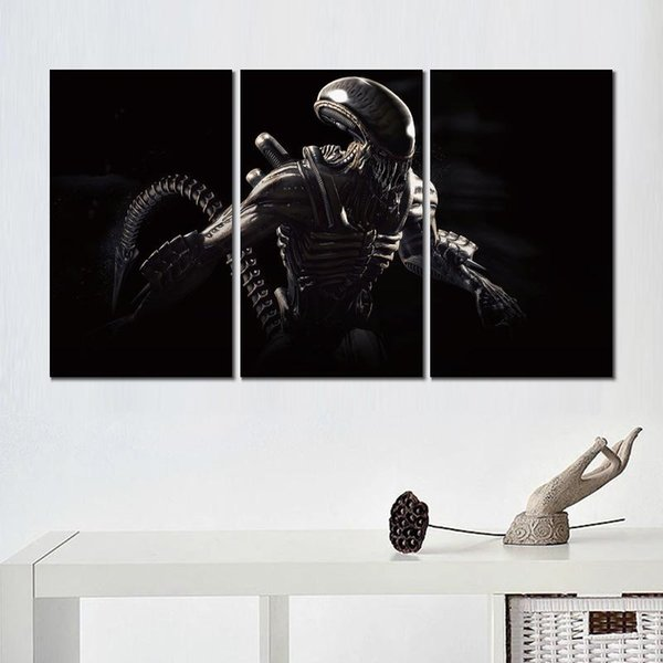 3 panels alien mortal kombat x canvas printed painting wall pictures for living room