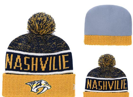Nashvilie Predators Ice Hockey Knit Beanies Embroidery Adjustable Hat Embroidered Snapback Caps Black Gray White Stitched Hats One Size 13