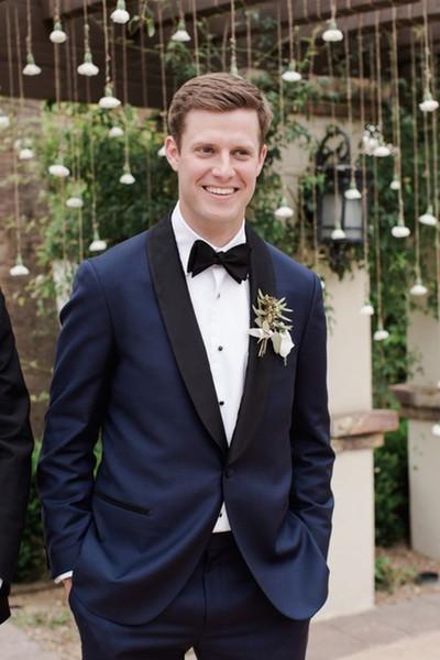 New Design Navy Blue Men Suits For Wedding Slim Fit Tuxedos Garden Beach Groom Best Man Prom Party Suit Black Shawl Lapel Blazer