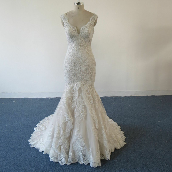 Mermaid V-Neck Cap Sleeve Lace Wedding Dresses 2019 robe de mariee Sheer Back Vintage Wedding Dress Bridal Gowns vestidos de noiva