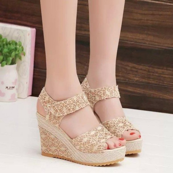 Shoes The New Korean Version: Frosted Slope, Fish Mouth Sandals, Summer High Heel, Heavy Bottomed Waterproof Table, Toed Women's