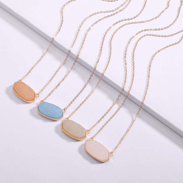 2019 Free Shipping 7 colour Druzy Drusy necklace Resin Stone Kendra Scott Necklaces Message Mixed Colors Geometric Jewelry