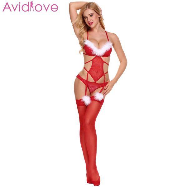 Avidlove Mulheres Sexy Trajes Erótico Sutiã de Pelúcia Natal Lingerie Sexy Bodysuit Rendas com Cintas de Lã lenceria femenina