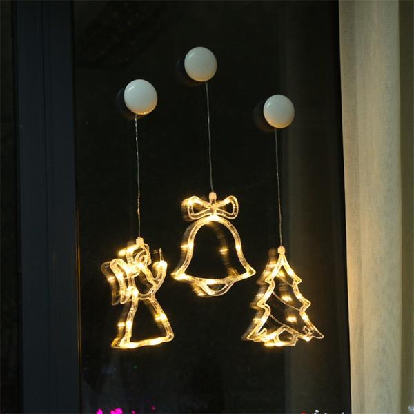 Lámpara de batería Muñeco de nieve Árbol de Navidad Cortinas de ventana de estrella de cinco puntas Festival Lámparas de colores pequeños Luz de lechón LED Decoración navideña 8aq p1