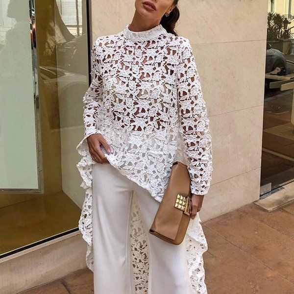 2019 Otoño Moda Mujer Elegante Casual Patchwork volantes Dip Hem Top Crochet irregular ahueca hacia fuera ver a través de la blusa